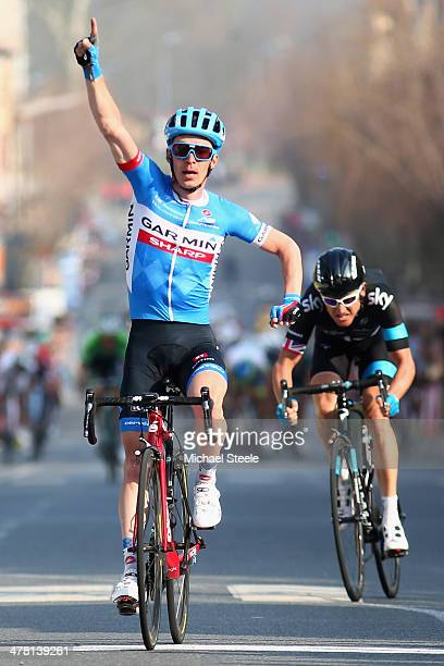 Tom Jelle Slagter of Holland and Team Garmin Sharp celebrates victory from Geraint Thomas of Great Britain and Team Sky during stage 4 of the...