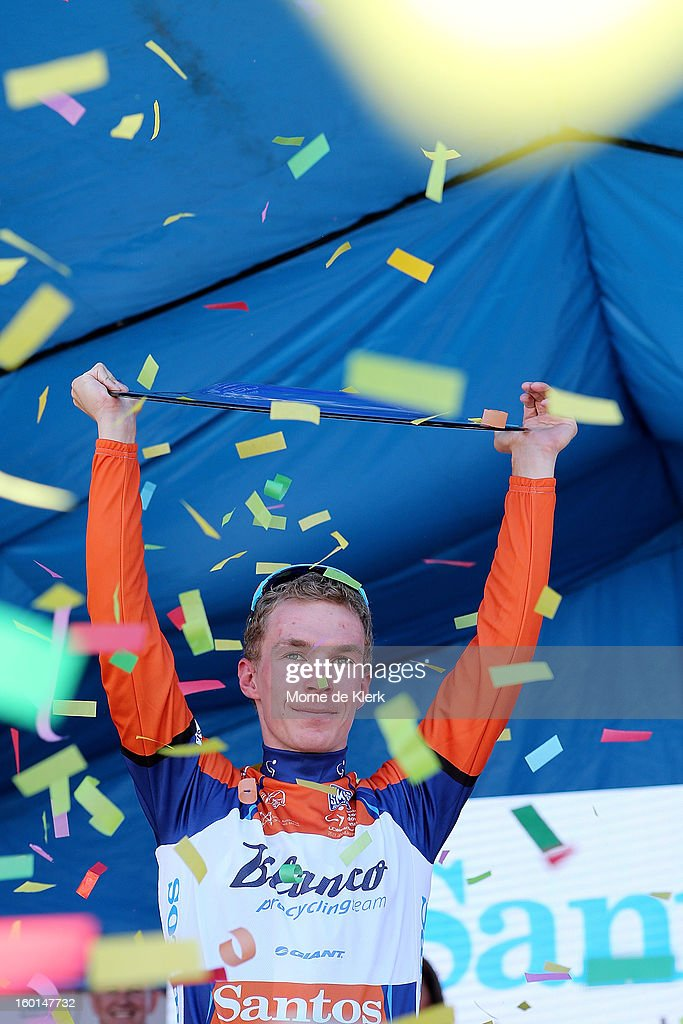 Tom Jelte Slagter of the Netherlands and the Blanco Pro Cycling Team celebrates with his trophy after winning in the overall classification after stage six of the Tour Down Under on January 27, 2013 in Adelaide, Australia.
