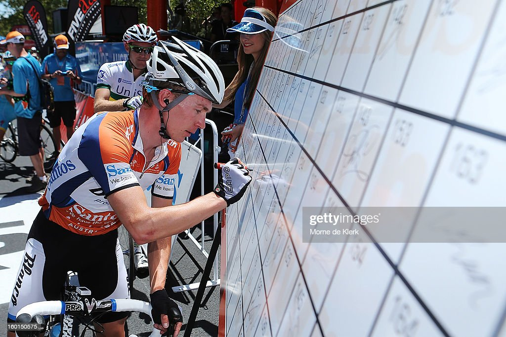 Tom Jelte Slagter of the Netherlands and the Blanco Pro Cycling Team signs on before stage six of the Tour Down Under on January 27, 2013 in Adelaide, Australia.