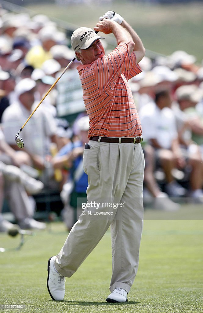 Tom Jenkins hits a tee shot during the first round of the US Senior Open at Prairie Dunes Country Club in Hutchinson Kansas on July 6 2006
