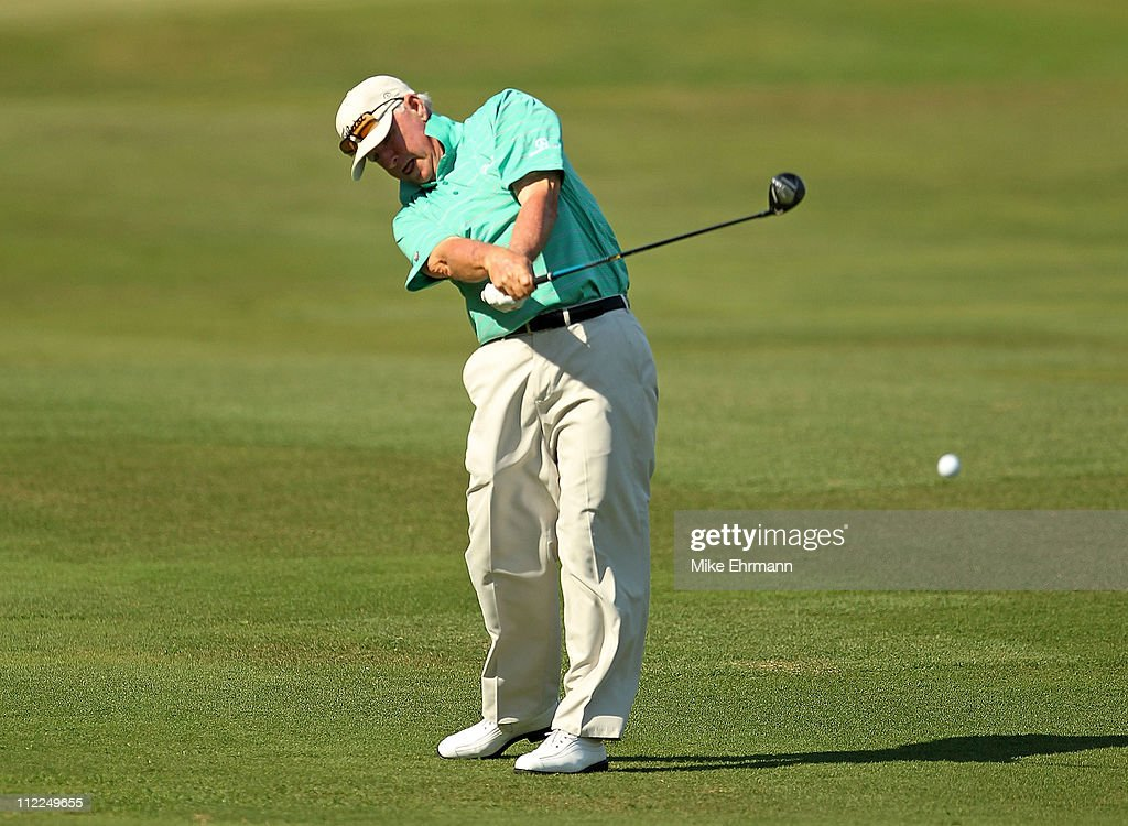 Tom Jenkins hits his approach shot on the 15th hole during the first round of the Outback Steakhouse ProAm at the TPC of Tampa on April 15 2011 in...