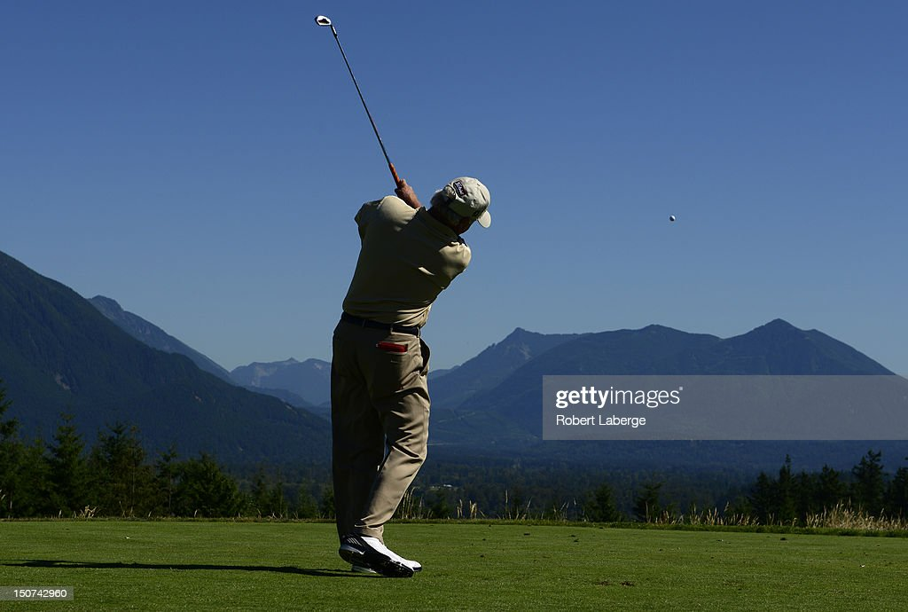 Tom Jenkins makes a tee shot on the 13th hole during round two of the Boeing Classic at TPC Snoqualmie Ridge on August 25 2012 in Snoqualmie...
