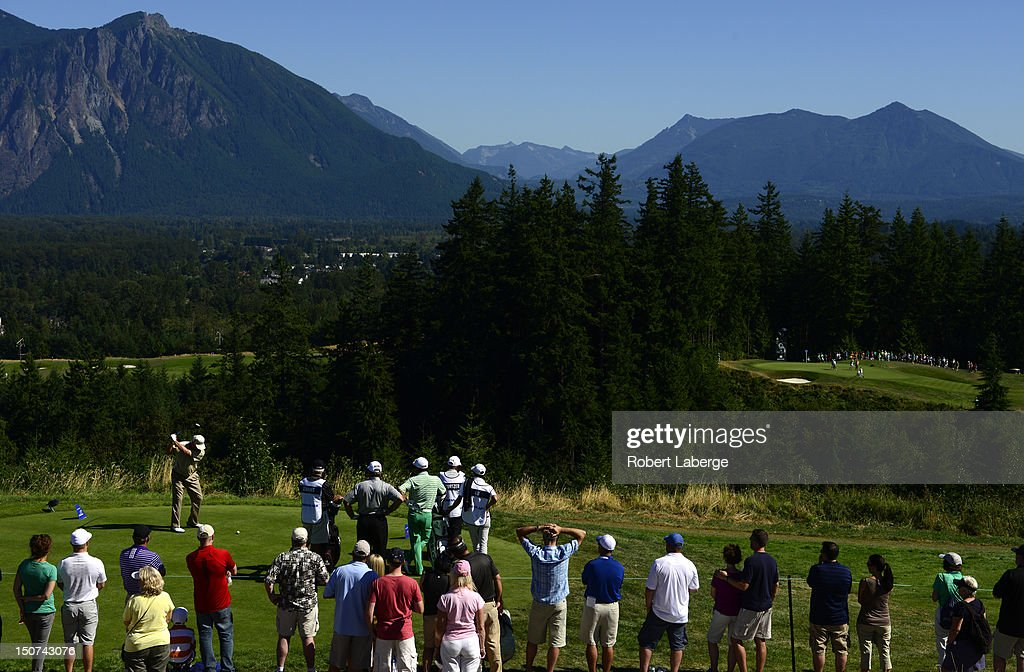 Tom Jenkins makes a tee shot on the 14th hole during round two of the Boeing Classic at TPC Snoqualmie Ridge on August 25 2012 in Snoqualmie...