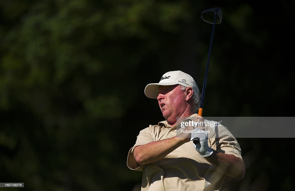 Tom Jenkins makes a tee shot on the 18th hole during round two of the Boeing Classic at TPC Snoqualmie Ridge on August 25 2012 in Snoqualmie...