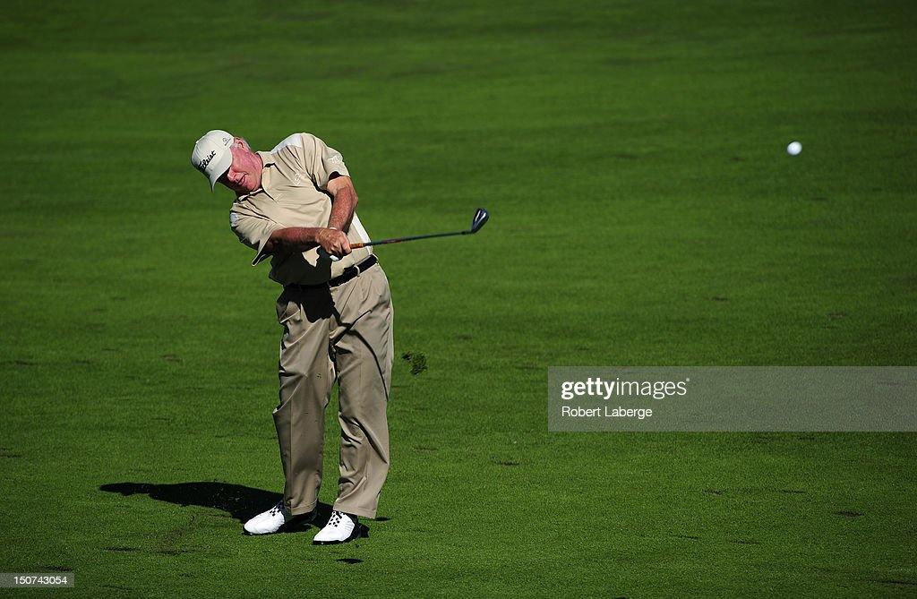 Tom Jenkins makes an approach shot on the 16th hole during round two of the Boeing Classic at TPC Snoqualmie Ridge on August 25 2012 in Snoqualmie...