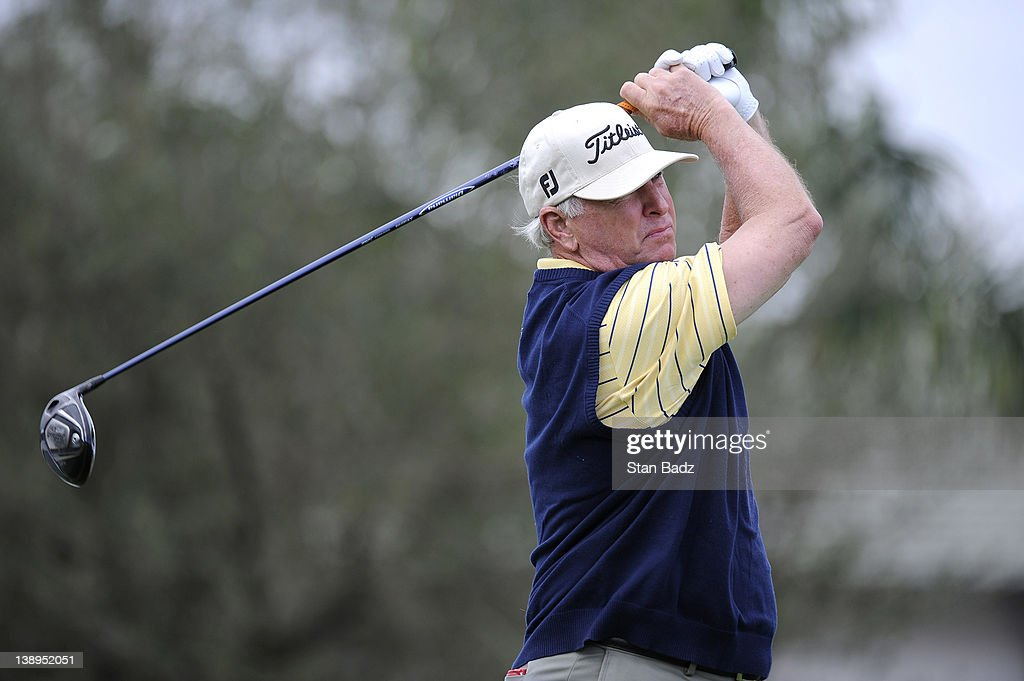 Tom Jenkins plays a shot on the tenth hole during the second round of the Allianz Championship at The Old Course at Broken Sound on February 11 2012...