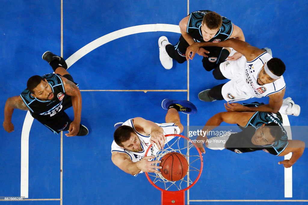 Tom Jervis of the Bullets with a dunk during the round nine NBL match between the New Zealand Breakers and the Brisbane Bullets at Spark Arena on December 7, 2017 in Auckland, New Zealand.