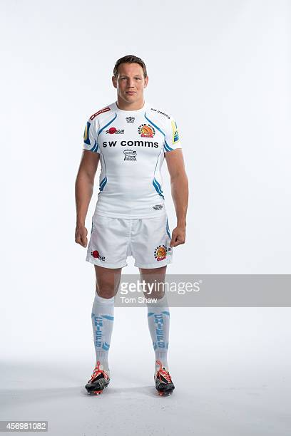 Tom Johnson of Exeter Chiefs poses for a picture during the BT Photo Shoot at Sandy Park on August 26 2014 in Exeter England