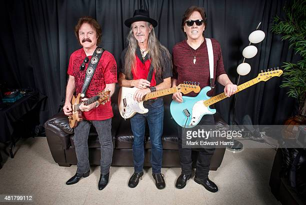 Tom Johnston Patrick Simmons John McFee of The Doobie Brothers are photographed at the Quebec Music Festival in Quebec City for Self Assignment on...