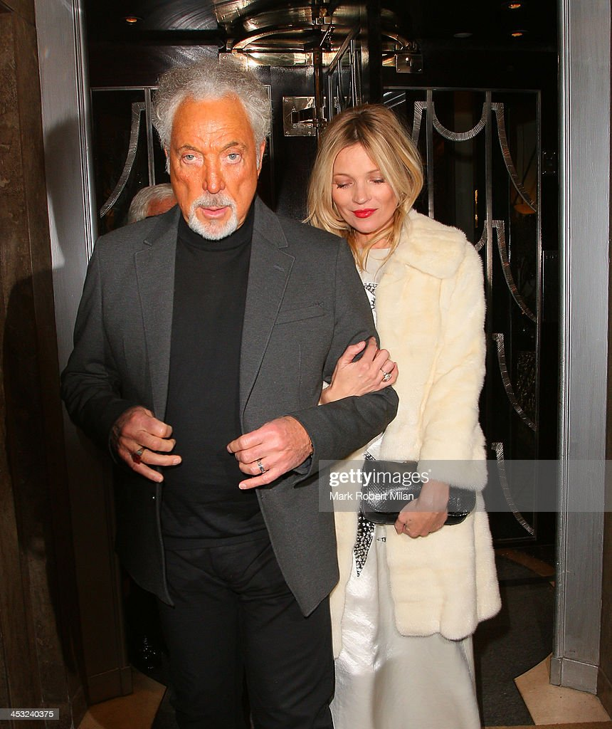 Tom Jones and <a gi-track='captionPersonalityLinkClicked' href=/galleries/search?phrase=Kate+Moss&family=editorial&specificpeople=201830 ng-click='$event.stopPropagation()'>Kate Moss</a> leaving Claridges Hotel on December 2, 2013 in London, England.