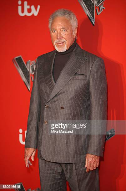 Tom Jones arrives for the press launch of The Voice UK at Millbank Tower on January 4 2017 in London England