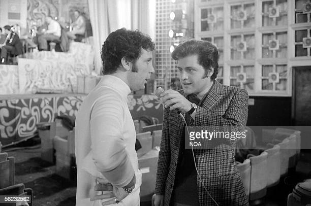 Tom Jones British singer interwieved by Joe Dassin at the Midem Cannes HA170515
