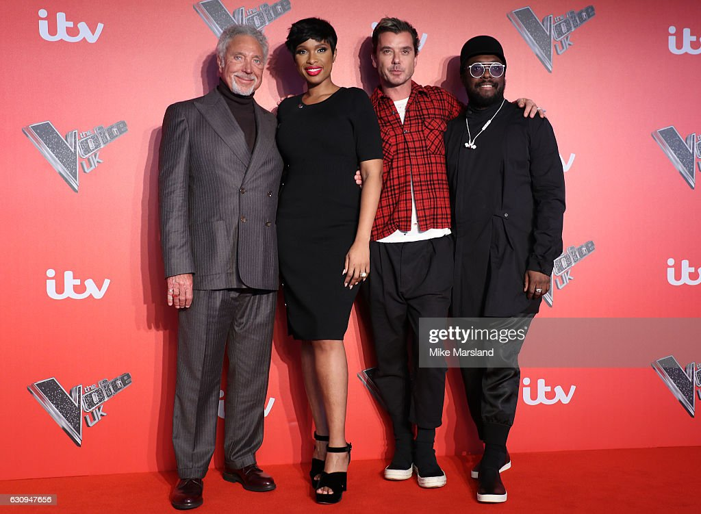 Tom Jones, Jenifer Hudson, Gavin Rossdale and Will.I.Am arrive for the press launch of The Voice UK at Millbank Tower on January 4, 2017 in London, England.
