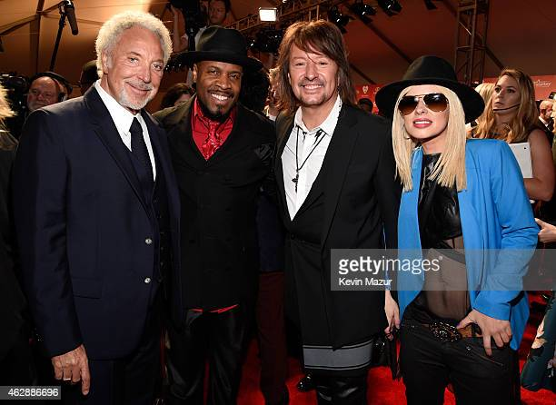 Tom Jones Michael Bearden Orianthi and Richie Sambora attend the 25th anniversary MusiCares 2015 Person Of The Year Gala honoring Bob Dylan at the...