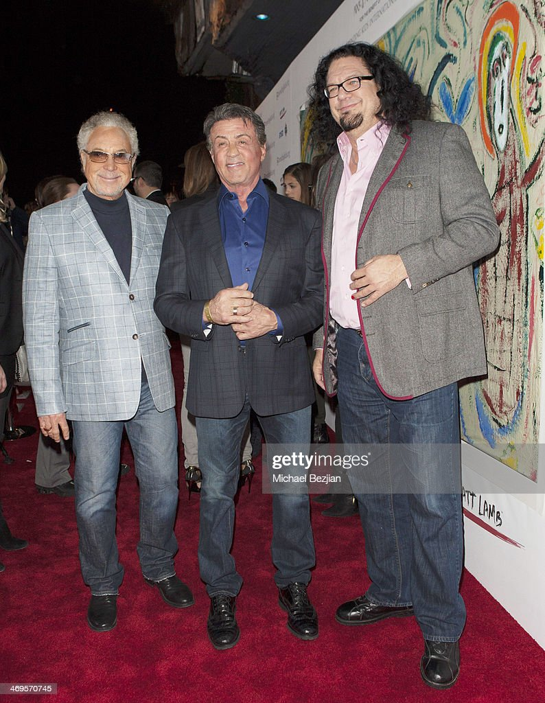 Tom Jones Sylvester Stallone and Penn Jillette attend Mending Kids International's 'Rock Roll AllStars' Fundraising Event on February 14 2014 in...