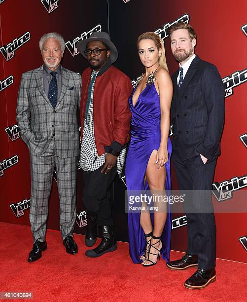 Tom Jones William Rita Ora and Ricky Wilson attend the launch of 'The Voice UK' Series 4 at The Mondrian Hotel on January 5 2015 in London England