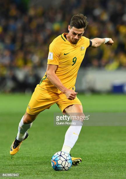 Tom Juric of Australia kicks during the 2018 FIFA World Cup Qualifier match between the Australian Socceroos and Thailand at AAMI Park on September 5...