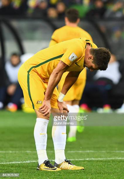 Tom Juric of Australia reacts after missing a shot on goal during the 2018 FIFA World Cup Qualifier match between the Australian Socceroos and...