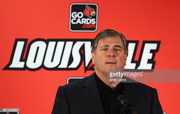 Tom Jurich athletic director at the University of Louisville introduces Bobby Petrino as the head coach of the University of Louisville at Papa...