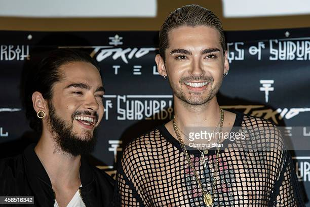 Tom Kaulitz and Bill Kaulitz attend the Tokio Hotel Press Conference Photocall on October 2 2014 in Berlin Germany After a five year break the new...
