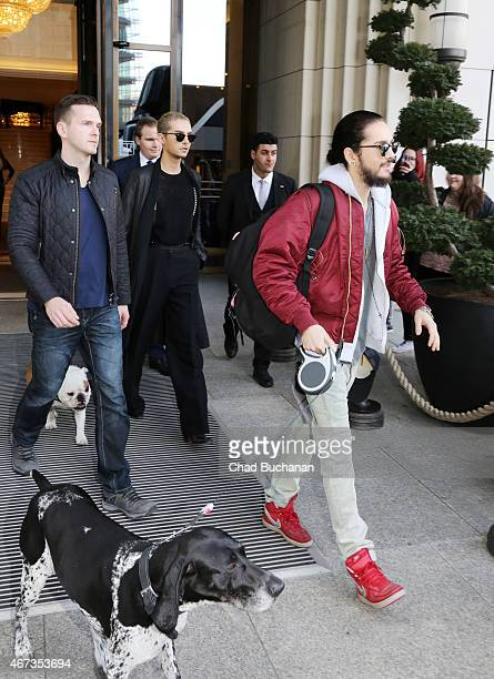 Tom Kaulitz and Bill Kaulitz of the band Tokio Hotel sighted at the Ritz Carlton Hotel on March 23 2015 in Berlin Germany