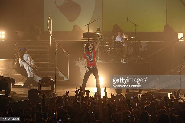 Tom Kaulitz Bill Kaulitz and Gustav Schafer from poprock band Tokio Hotel performing at the Zenith Sud arena before a very young audience gone in a...