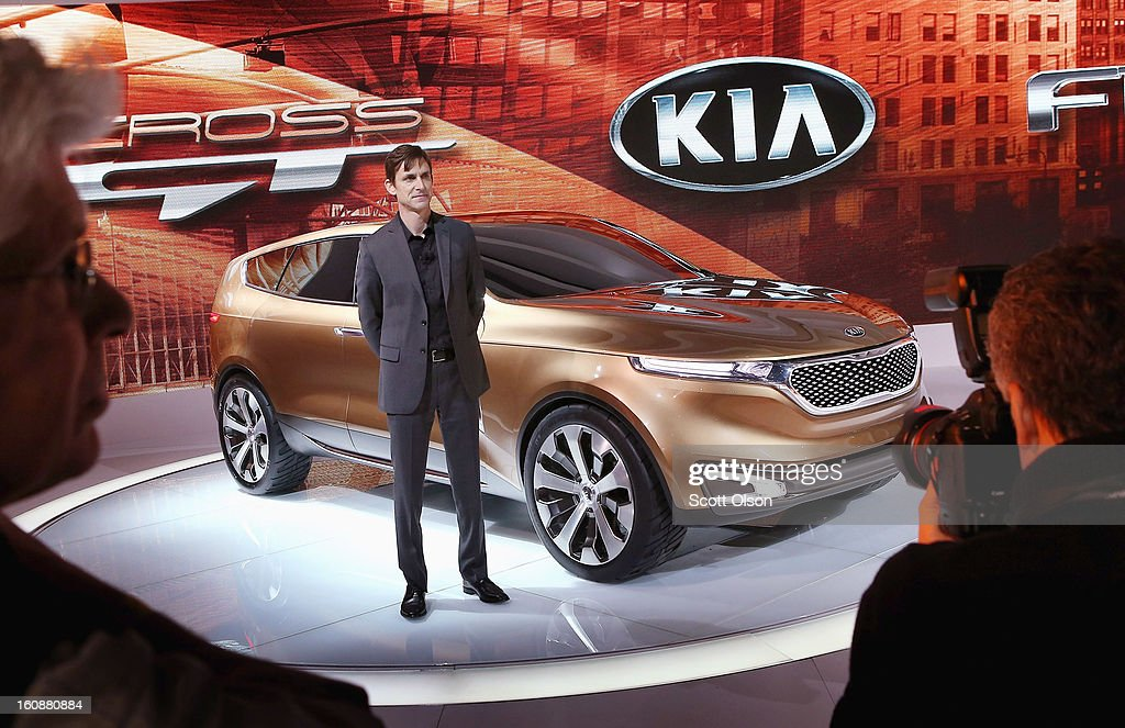 Tom Kearns, chief designer at Kia, introduces the Cross GT Concept car at the Chicago Auto Show on February 7, 2013 in Chicago, Illinois. The Chicago Auto Show, one of the oldest and largest in the country, will be open to the public February 9-18.