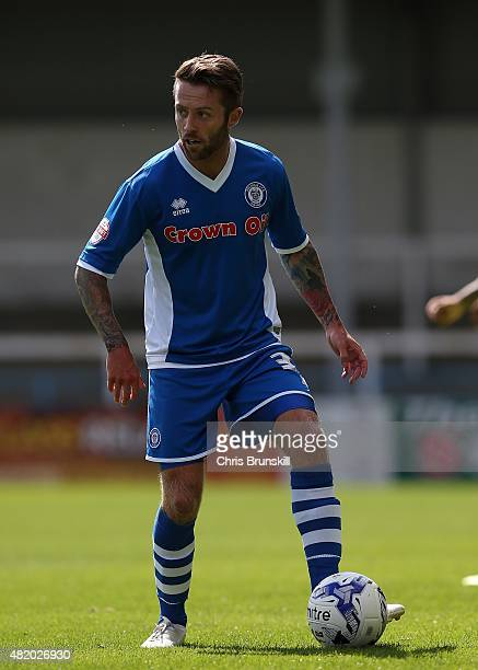 Tom Kennedy of Rochdale in action during the pre season friendly match between Rochdale and Huddersfield Town at Spotland on July 18 2015 in Rochdale...