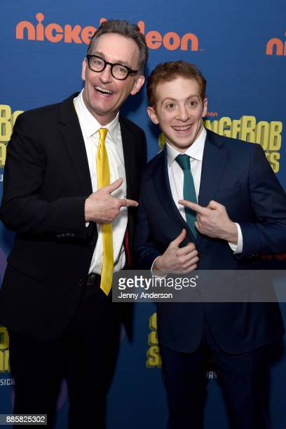 Tom Kenny and Ethan Slater attend the opening night of Nickelodeon's SpongeBob SquarePants The Broadway Musical after party at Ziegfeld Ballroom on...