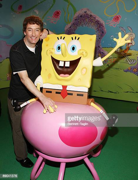Tom Kenny the voice of Spongebob attends the Spongebob Squarepants wax figure unveiling at Madame Tussauds on July 15 2009 in New York city