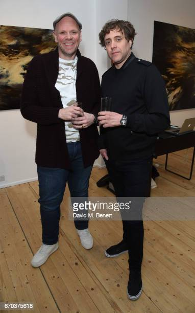 Tom Kerridge and Ian Matthews attend a private view of exhibition 'Morphosis' during the official launch of the West Contemporary gallery on April 19...