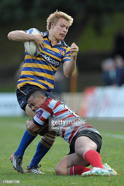 Tom Kingston runs with the ball during the round 16 Shute Shield match between Sydney Uni and Southern Districts at North Sydney Oval on August 3...