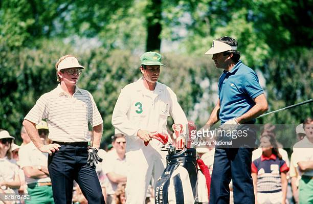 Tom Kite and Seve Ballesteros wait to tee off during the 1986 Masters Tournament at Augusta National Golf Club in April 1986 in Augusta Georgia