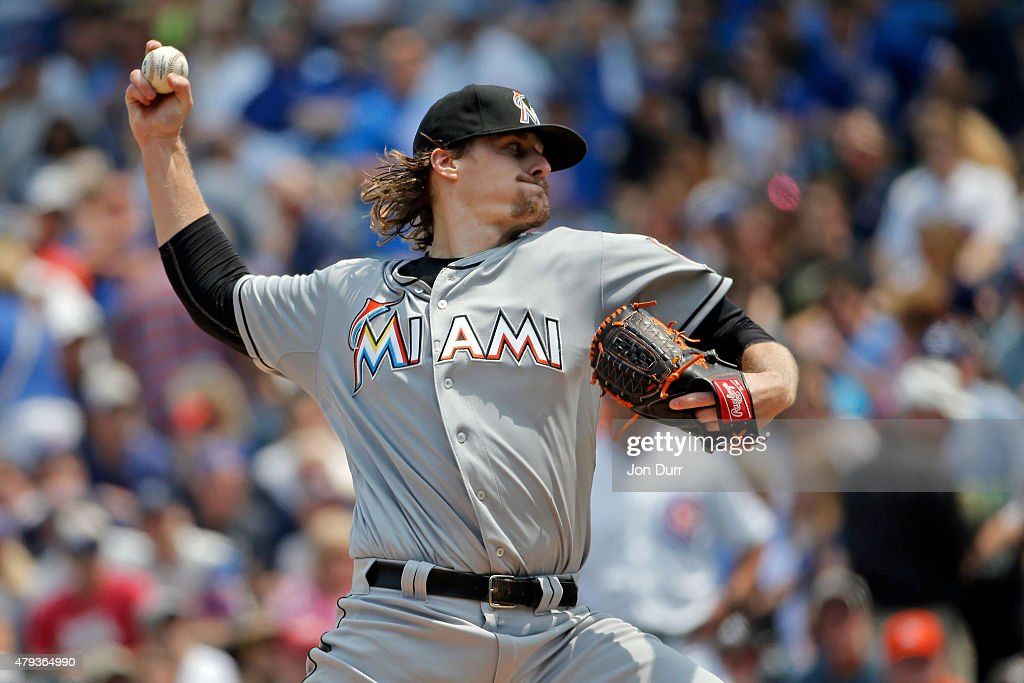 Tom Koehler of the Miami Marlins pitches against the Chicago Cubs during the first inning at Wrigley Field on July 3 2015 in Chicago Illinois