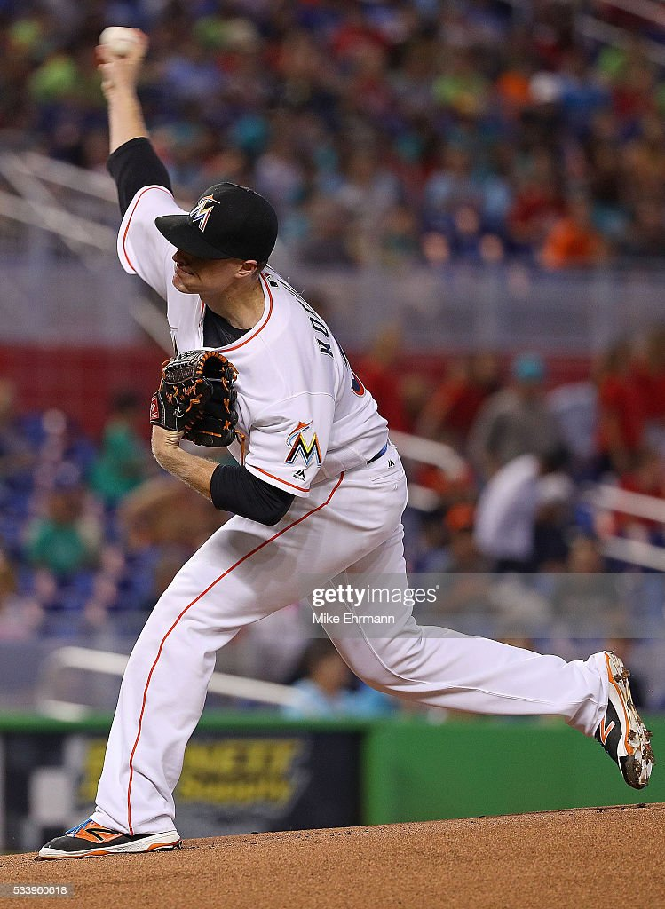 Tom Koehler #34 of the Miami Marlins pitches during a game against the Tampa Bay Rays at Marlins Park on May 24, 2016 in Miami, Florida.