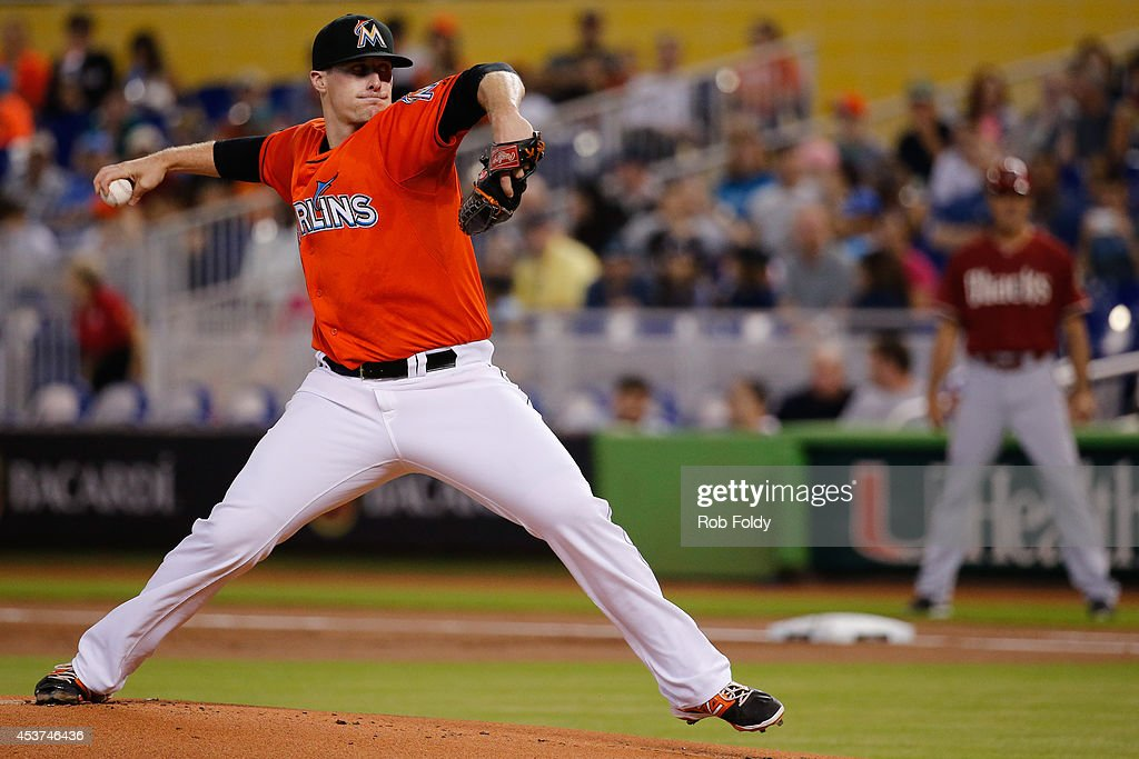 <a gi-track='captionPersonalityLinkClicked' href=/galleries/search?phrase=Tom+Koehler&family=editorial&specificpeople=7551557 ng-click='$event.stopPropagation()'>Tom Koehler</a> #34 of the Miami Marlins pitches during the first inning of the game against the Arizona Diamondbacks at Marlins Park on August 17, 2014 in Miami, Florida.