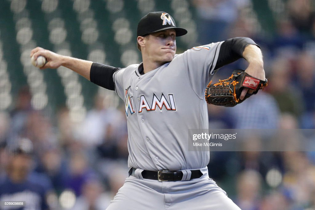 <a gi-track='captionPersonalityLinkClicked' href=/galleries/search?phrase=Tom+Koehler&family=editorial&specificpeople=7551557 ng-click='$event.stopPropagation()'>Tom Koehler</a> #34 of the Miami Marlins pitches during the first inning against the Milwaukee Brewers at Miller Park on May 01, 2016 in Milwaukee, Wisconsin.