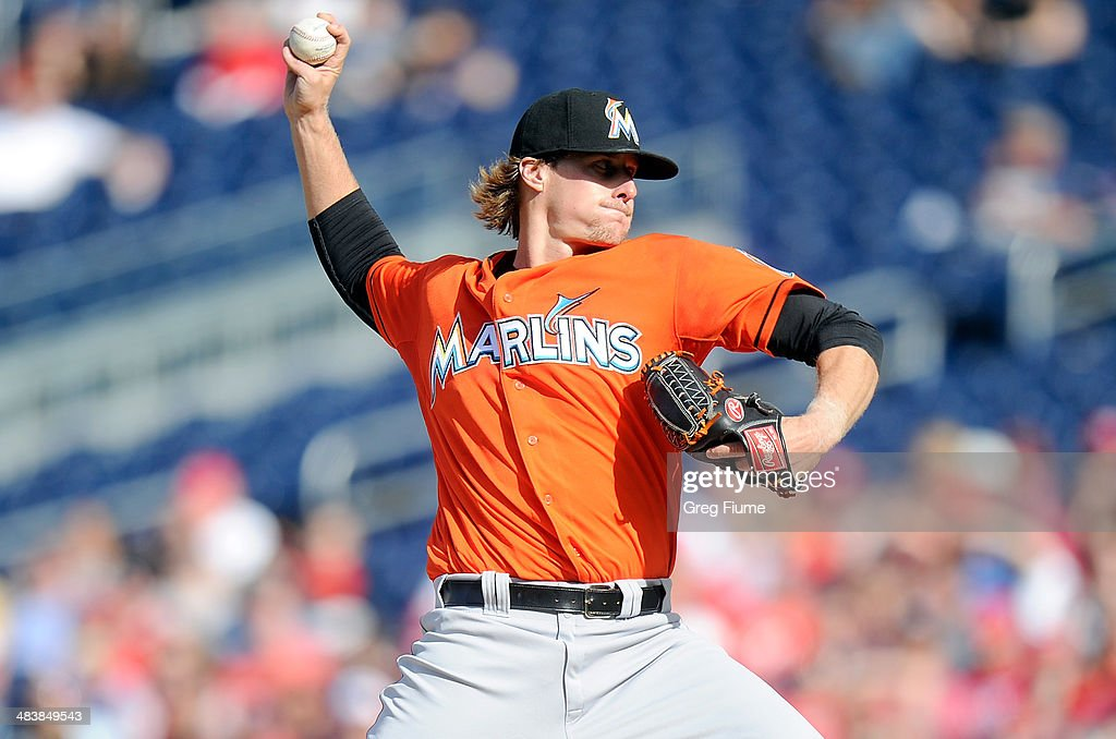 <a gi-track='captionPersonalityLinkClicked' href=/galleries/search?phrase=Tom+Koehler&family=editorial&specificpeople=7551557 ng-click='$event.stopPropagation()'>Tom Koehler</a> #34 of the Miami Marlins pitches in the second inning against the Washington Nationals at Nationals Park on April 10, 2014 in Washington, DC.