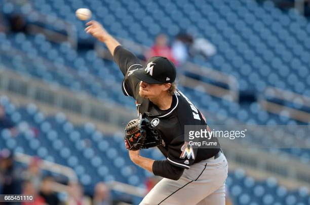 Tom Koehler of the Miami Marlins pitches in the second inning against the Washington Nationals at Nationals Park on April 6 2017 in Washington DC