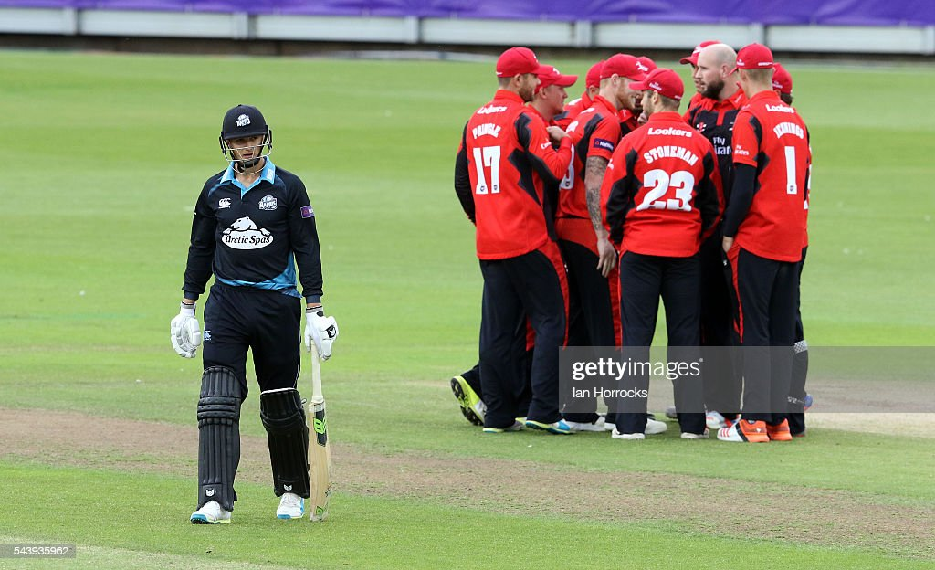 Tom Kohler-Cadmore of Worcestershire (L) walks off out for a duck during the NatWest T20 Blast game between Durham Jets and Worcestershire Rapids at Emirates Durham ICG on June 30, 2016 in Chester-le-Street, England.