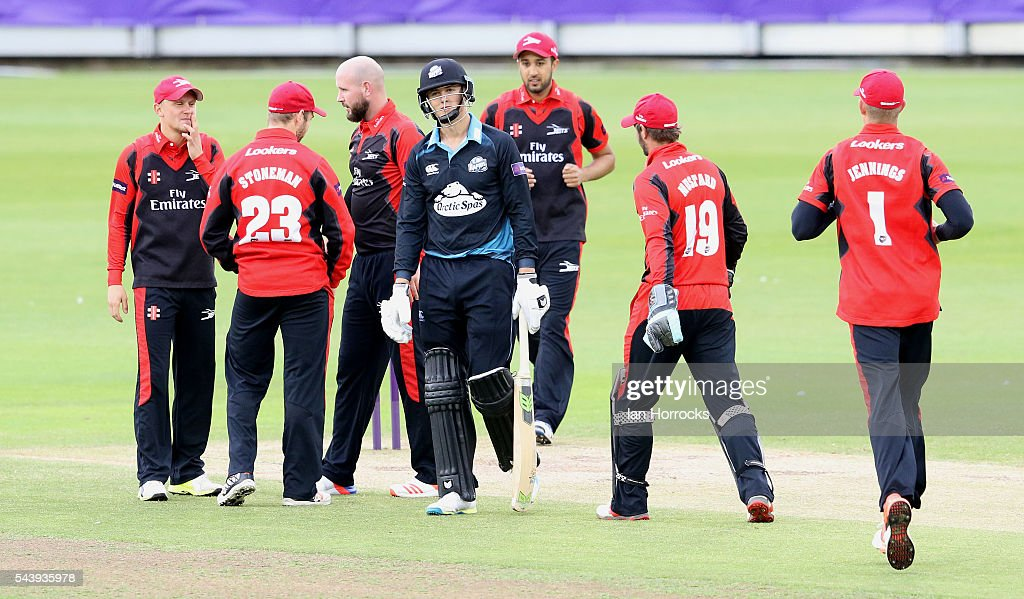 Tom Kohler-Cadmore of Worcestershire (C) walks off out for a duck during the NatWest T20 Blast game between Durham Jets and Worcestershire Rapids at Emirates Durham ICG on June 30, 2016 in Chester-le-Street, England.