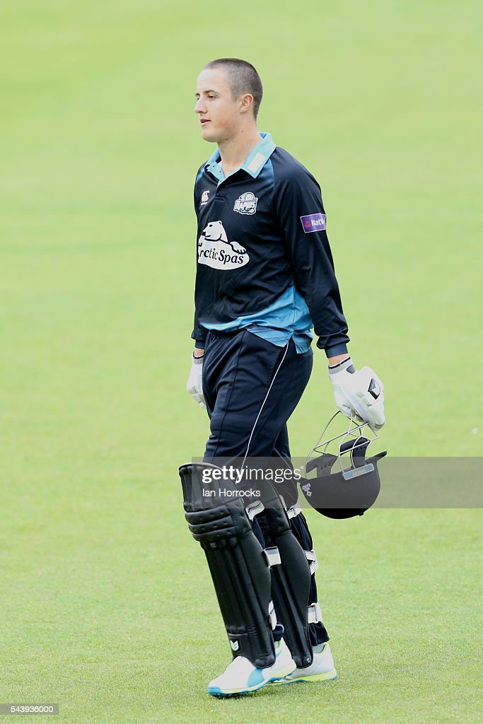 Tom Kohler-Cadmore of Worcestershire walks off out for a duck during the NatWest T20 Blast game between Durham Jets and Worcestershire Rapids at Emirates Durham ICG on June 30, 2016 in Chester-le-Street, England.