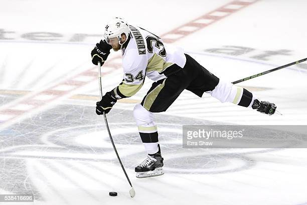 Tom Kuhnhackl of the Pittsburgh Penguins in action against the San Jose Sharks in Game Three of the 2016 NHL Stanley Cup Final at SAP Center on June...