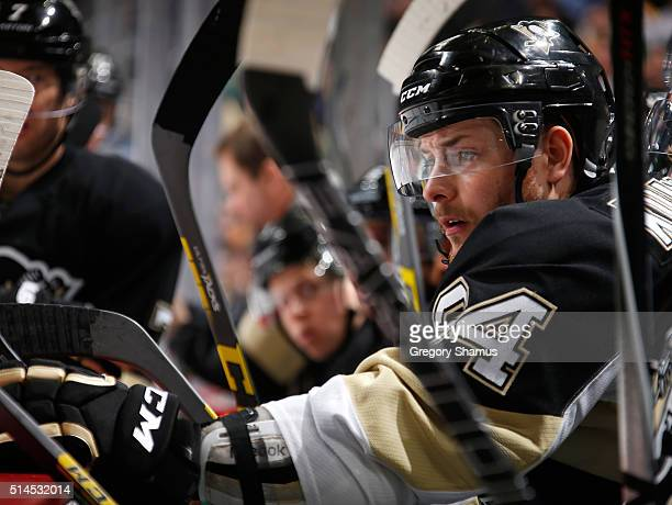 Tom Kuhnhackl of the Pittsburgh Penguins looks on against the Calgary Flames at Consol Energy Center on March 5 2016 in Pittsburgh Pennsylvania