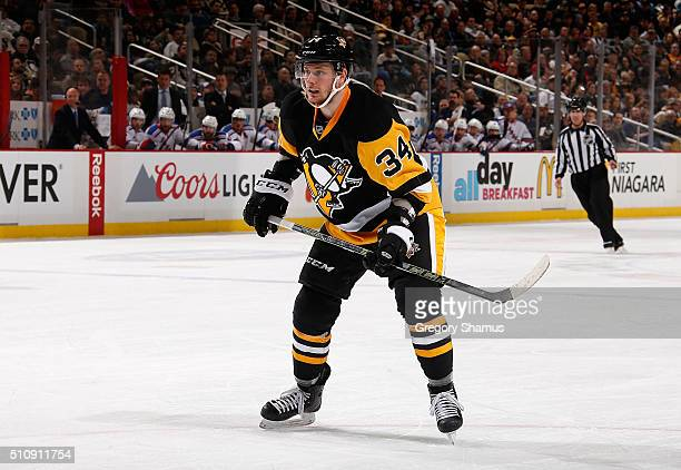 Tom Kuhnhackl of the Pittsburgh Penguins skates against the New York Rangers at Consol Energy Center on February 10 2016 in Pittsburgh Pennsylvania