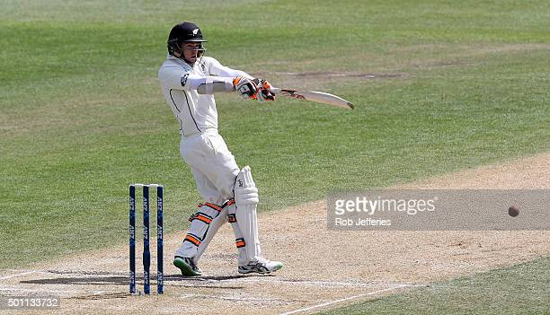Tom Latham of New Zealand bats during day four of the First Test match between New Zealand and Sri Lanka at University Oval on December 13 2015 in...