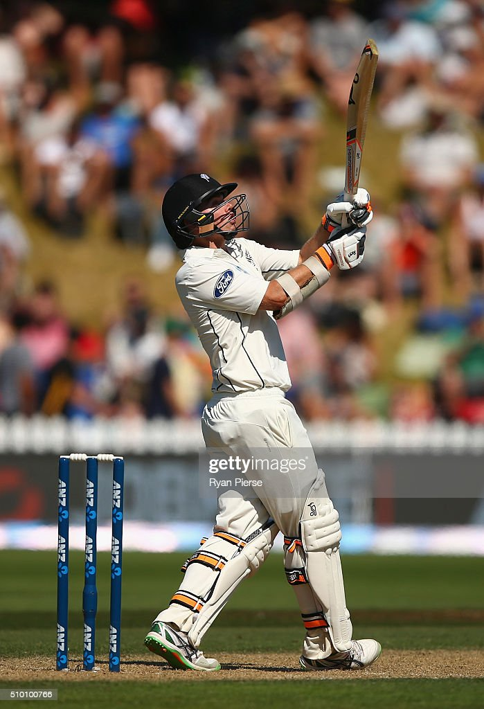 <a gi-track='captionPersonalityLinkClicked' href=/galleries/search?phrase=Tom+Latham+-+Cricket+Player&family=editorial&specificpeople=13719242 ng-click='$event.stopPropagation()'>Tom Latham</a> of New Zealand bats during day three of the Test match between New Zealand and Australia at Basin Reserve on February 14, 2016 in Wellington, New Zealand.