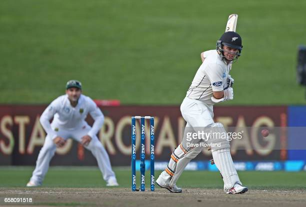 Tom Latham of New Zealand bats during day three of the Test match between New Zealand and South Africa at Seddon Park on March 27 2017 in Hamilton...