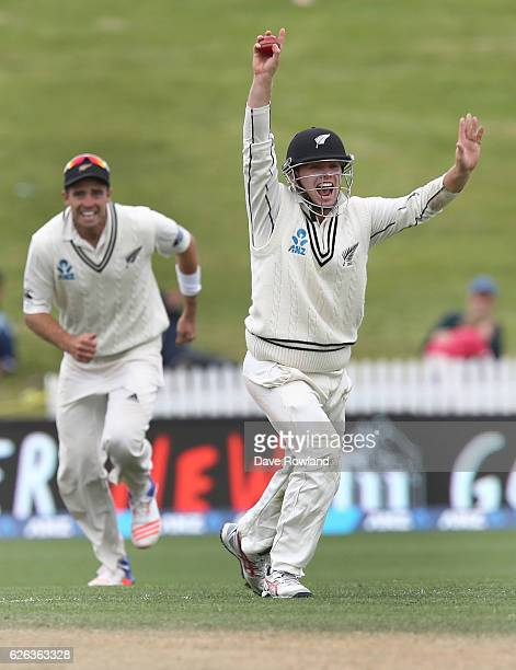 Tom Latham of New Zealand celebrates his catch which took the final Pakistan wicket on day five of the Second Test match between New Zealand and...