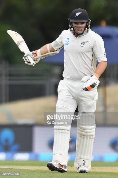 Tom Latham of New Zealand celebrates his half century during day two of the Second Test match between New Zealand and Bangladesh at Hagley Oval on...